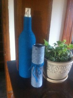 Yarn Wrapped Recycled Bottles. $10.00, via Etsy.