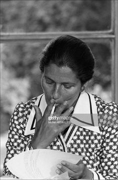 Simone Veil and Jacques Chirac press conference at Hotel Matignon - The Veil law legalizing abortion unleashed emotional debate in Paris, France on June 19, 1974.