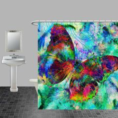 Shower Curtain Butterfly Abstract Funky Boho by FolkandFunky