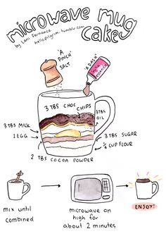 Easy mug cake you can make in your dorm room! Super moist and delicious!! -- cute little illustration!~