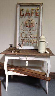 Vintage painted wooden table for sale at Holt Antiques & Interiors Centre, NR25 6SU