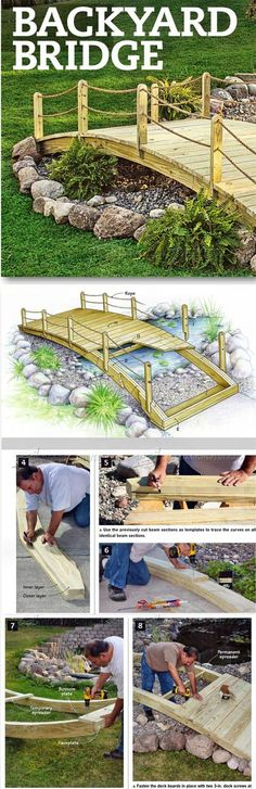 Backyard Bridge Plans - Outdoor Plans and Projects - Woodwork, Woodworking, Woodworking Plans, Woodworking Projects Backyard Projects, Outdoor Projects, Garden Projects, Backyard Ideas, Ponds Backyard, Backyard Landscaping, Sloped Backyard, Garden Ponds, Landscaping Ideas