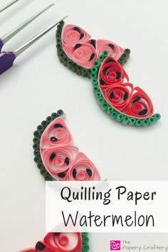 Quilling Paper Watermelon - Diy How to Crafts Neli Quilling, Quilling Images, Paper Quilling Cards, Paper Quilling Tutorial, Paper Quilling Patterns, Paper Quilling Jewelry, Quilling Craft, Quilling Ideas, Quilled Roses