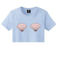 Seashells Mermaid Crop Top Pink Blue S M L Xl 2xl Tumblr Instagram... (1.230 RUB) ❤ liked on Polyvore featuring tops, shirts, crop top, crop, blue, women's clothing, print shirts, print top, sea shell crop top and sea shell top