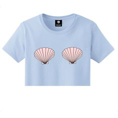 Seashells Mermaid Crop Top Pink Blue S M L Xl 2xl Tumblr Instagram... (1.230 RUB) ❤ liked on Polyvore featuring tops, shirts, crop top, crop, blue, women's clothing, print shirts, print top, sea shell crop top and sea shell top