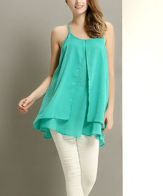 Look at this #zulilyfind! Turquoise Chiffon Layered Tunic by Reborn Collection #zulilyfinds