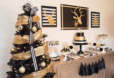 Modern Black + Gold Christmas Party via Kara's Party Ideas KarasPartyIdeas.com Cake, printables, decor, tutorials, desserts, recipes, and more! #christmas #christmasparty #modernchristmasparty #blackandgold #modernholidayparty #christmaspartyideas (14)