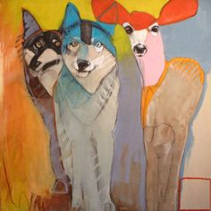 "Family, Rebecca Haines, 30x30"" oil/panel, $3300. #santafeart #contemporaryart #animalart"
