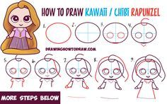 How to Draw Kawaii Chibi Rapunzel from Disney's Tangled in Easy Steps - How to Draw Step by Step Drawing Tutorials