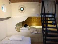 The interior of our room in the Amsterdam Book Now houseboat