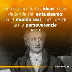 En el reino de las ideas, todo depende del entusiasmo;  en el mundo real, todo reside en la perseverancia. #frases #goethe #tips #frasesfamosas #frasesdefamosos #citas