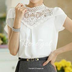 Sweet Round Neck Hollow Out Crochet Flower Short Sleeve Women's Blouse Vintage Blouses   RoseGal.com Mobile