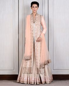 Manish Malhotra's gorgeous BEIGE RAW SILK LEHENGA WITH BLUSH JACKET