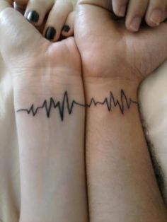 i like this if we put a lil heart in the line, and our wedding date underneath - 6.11.16...Scott said he should get my heartbeat and I should get his...