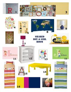 @Betsy Cain. Shared Boy and Girl Bedroom Moodboard.  Inspired by the IKEA bedding.