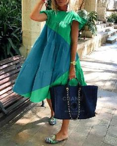 Descriptions: Collar:Round neck Material:Polyester Occasion: Going out,Daily life,Travel Style: Casual,Holiday Theme:Summer Length: Midi Dress Pattern: Solid Green Midi Dress, Dress Black, Casual Dresses, Summer Dresses, Summer Outfits, Online Dress Shopping, Vacation Dresses, African Dress, Boho Dress