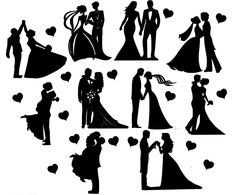 Details about Die Cut Outs Silhouette Wedding Couples shapes x 10 Romance Valentine engagement - Hochzeit - Souvenirs Silhouette Couple, Wedding Silhouette, Silhouette Art, Wedding Tags, Wedding Quotes, Wedding Couples, Married Couples, Couple Photography, Photography Poses