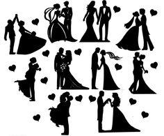 Details about Die Cut Outs Silhouette Wedding Couples shapes x 10 Romance Valentine engagement - Hochzeit - Souvenirs Wedding Cards Handmade, Wedding Tags, Wedding Quotes, Wedding Couples, Married Couples, Wedding Veils, Wedding Reception, Couple Silhouette, Wedding Silhouette