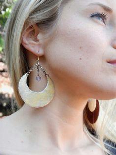 Gold Moon Earrings, Crescent Moon Earrings, Amethyst Dangle Earrings, Hammered Copper Earrings, Healing Crystal Earrings, Gold Hoop Earrings