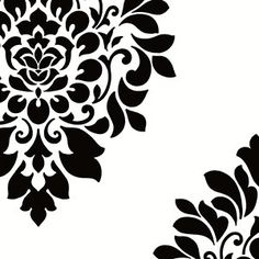 White and black damask wallcovering [BLCK-17580] : Designer Wallcoverings, Specialty Wallpaper for Home or Office