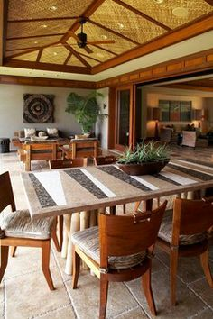 Lot 82 - tropical - dining room - hawaii - GM Construction, Inc. Modern Tropical House, Tropical Interior, Tropical Houses, Tropical Decor, Hawaiian Homes, Hawaiian Decor, Resort Interior, Cafe Interior, Philippine Houses