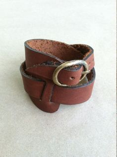 Brown Leather Wrap Cuff Genuine Leather Wrap by AmbosDesigns
