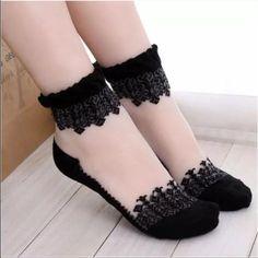 TRANSPARENT SOCKS Transparent socks w black. Crystal silk ruffle. New in bag. These look great w flats, booties or heels! Accessories Hosiery & Socks