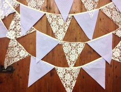 Traditional lace & lilac wedding bunting white or by Spoonangels, £12.95