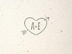 Woodsy Wedding - Stamp - Arrow through Heart. Tree. Folk. Nature. Envelope. Initials. Custom.. $30.00, via Etsy.