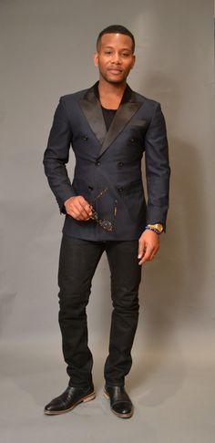 Sabir M. Peele of Men's Style Pro in Custom @indochino  Midnight Blue Tuxedo   @3x1 M3 Jeans @frankandoak T-Shirt   http://mensstylepro.com/2015/01/21/the-versatile-double-breasted-casual-tuxedo/