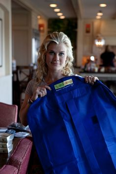 Allison Sweeney with reusable dry cleaning bag