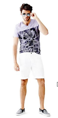 """For the summer dad, find the perfect """"summer uniform"""" at Guess. Shop their graphic tees and shorts. #summeroutfit #fathersday #guess"""