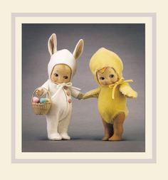 """""""We Promised you, Spring is coming, and It's here!"""" -- Kewpie Bunny and Chick For Michelle Antique Dolls, Vintage Dolls, Bunny Tattoos, Easter Toys, John Wright, Waldorf Dolls, Child Doll, Vintage Easter, Old Toys"""