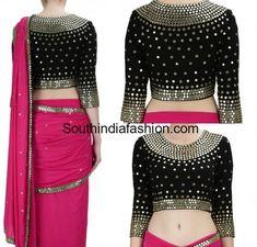 Black Mirror Work Blouse with pink mirror work saree