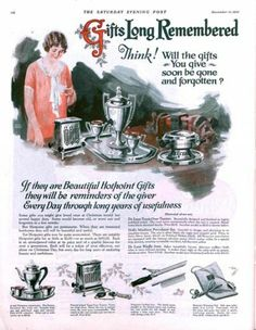 1926 ad for silver goods for Christmas. The Saturday Evening Post.