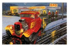 Hot Rods Christmas Cards - X-822 - One (1) Pack of 10 Cards & Envelopes #Christmas