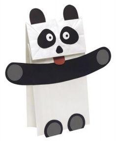Make a paper bag Panda puppet with your language students. Panda Bear Crafts, Panda Craft, Panda Birthday Party, Panda Party, Preschool Crafts, Crafts For Kids, Paper Bag Crafts, Paper Bags, Paper Bag Puppets