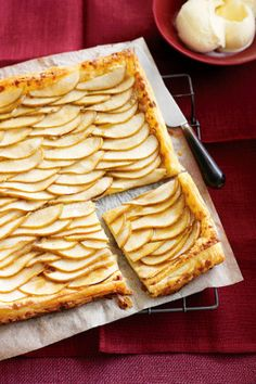 Crisp pear and almond galette is perfectly complimented with a generous scoop of cinnamon ice-cream. #food