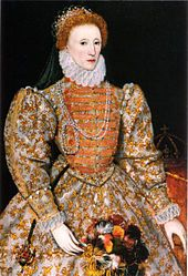 Elizabeth I, the Darnley Portrait, c. 1575-6, possibly by the Italian artist Federico Zuccari, who is known to have visited the court in 1575, and made preparotory drawings for full-length portraits of both Elizabeth and her favourite, Robert Dudley, 1st Earl of Leister.