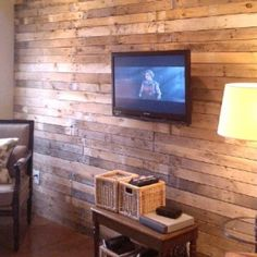 DIY Wood Pallet Wall for the basement Wood Diy, Home Projects, Home, Home Diy, House, Wood Pallets, New Homes, Diy Wood Wall, Wood Pallet Wall