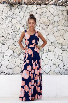 Capri Catalina Skirt  Panelled full length skirt with fitted waist band and zipPrint has a navy blue base and position may vary / 100% Rayon/ViscoseModel is wearing size 6 and is 175cm. Print position may varyFor help with sizing and fit, give us a call on (03) 9576 2645 or send us an email at online@misterzimi.com