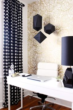 Gold and black home office
