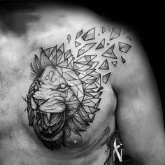 Geometric Lion Guys Shoulder Tattoo With Broken Design