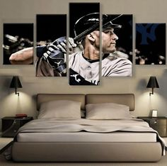 5 Piece Derek Jeter Player Baseball Canvas Painting Frames - It Make Your Day Art Paintings For Sale, Home Decor Paintings, Derek Jeter, Canvas Wall Art, Wall Art Prints, Canvas Prints, Baseball Canvas, Sports Wall, Home Office Space