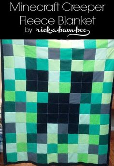 Minecraft Creeper Fleece Blanket | rickabamboo.com | #DIY #pattern #quilt Might have to find varying shades of Pink for Princess a Pink Creeper one
