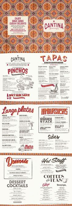 Cuban Food Menu, Graphic Design, Illustration, Typography, Pattern Design by diagramdesign.co.uk: http://diagramdesign.co.uk?utm_content=buffer4cb5d&utm_medium=social&utm_source=pinterest.com&utm_campaign=buffer