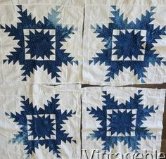 4 Primitive Antique Feathered Star Indigo Blue Quilt Top Blocks 20x18 Heavy Fade