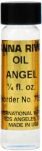 """http://www.annarivas.com/products/Angel-Anna-Riva-Oil-2-dram.html - Angel oil 2 dram -     """"The scent of this oil is purported to be pleasing to angels and other celestial spirits. A peaceful oil, pink candles may be dressed with this to attract friends, and white candles anointed with it to calm a troubled home. This is a pure anointing oil for external use only. """" $3.95"""