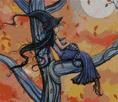venta por internet grafico a punto una bonita escena de una bruja descansando en un árbol. hilo marca DMC mouline,tela especial para punto de cruz aida 14.