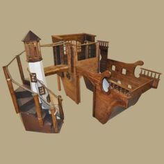 Wooden Pirate Ship Indoor Playhouse w' Light House